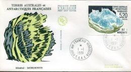 12251 T.A.A.F.  Fdc  1991 Terres Australes Antarctiques Francaises, Mineral:  Mordenite, Minerals - Minerals