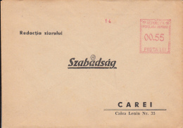 47650- AMOUNT 0.55, RED MACHINE STAMP ON COVER, ADRESSED TO SZABADSAG NEWSPAPER-CAREI, ROMANIA - 1948-.... Republiken