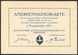1931 Germany Dresden Deutscher Stenographen Anerkennungskarte , Deutschen Stenographenbundes Certificate - Diploma & School Reports