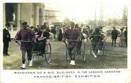 EXHIBITION - 1908 FRANCO BRITISH - RICKSHAWS IN THE CASCADE GARDENS RP Ex28 - Exhibitions