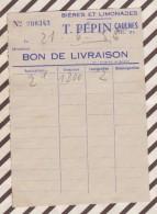 LETTRE / FACTURE BON DE LIVRAISON PEPIN CAULNES BIERES LIMONADES 1955 10 X 14 CM - France