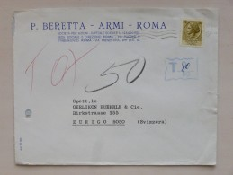 ITALIA / ITALIEN => SVIZZERA / SCHWEIZ / SUISSE // Brief, 196(2?), NACHTAXIERT T 80/90, ROMA => ZURIGO - Affrancature Meccaniche Rosse (EMA)