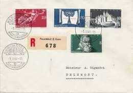SCHWEIZ 1948 - 5 + 10 + 20 + 30 C Satzfrankierung (Ank507-510) Auf RECO-Brief Gel.v.Neuchàtel Nach Delemont