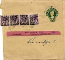 BRAZIL 1912 - 20 Reis Ganzsache + 4er Streifen 20 Reis Auf Zeitungsschleife Gel.v. Brasilien > Dresden - Brasilien