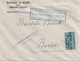 SYRIEN 194? - 2p50 Mit Überdruck 7p50 Auf Bankbrief Gel.v.Syrien > Berlin - Syrien