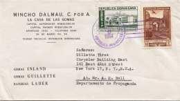 DOMINICANA 1954 - 2 Sondermarken Auf Firmenbrief Gel.v.Dominicana > New York - Dominica (1978-...)