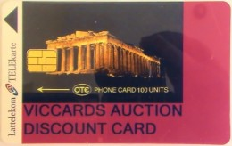 LATVIA - Acropolis/Athens, Viccards Discount Card, Tirage 100, Mint - Latvia