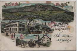 Gruss Aus Welschenrohr Nebst Hersl. Gratulation - Schulhaus, Dorfstrasse, Gasthaus Zum Rössli, Totalansicht - Litho - SO Soleure
