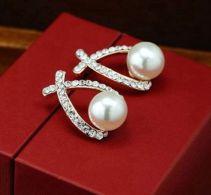 Orecchini  Dorati Con Perline E Cristalli - Orecchini