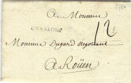 1760- Lettre De CHAALONS  ( S.&L.) Lenain L3  Taxe 12 Sols Pour Rouen - Marcophilie (Lettres)