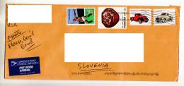D21 Usa Amerika America Letter Lettre Brief ATM Used Airmail Traveled To Slovenia Vintage Car Auto Oldtimer - Otros