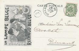 628/24-  LAMPES / ECLAIRAGE - Belgique GOSSELIES 1905 - Carte Publicitaire La Lampe Belge - Marque L § B - Timbres