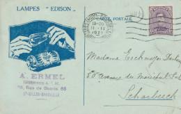 629/24-  LAMPES / ECLAIRAGE - Belgique BRUXELLES 1921 - SUPERBE Carte Publicitaire Lampes Edison - Timbres