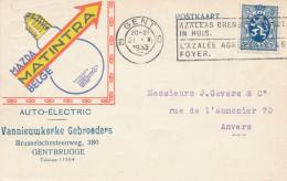 630/24-  LAMPES / ECLAIRAGE - Belgique GENT 1933 - Carte Publicitaire Couleur Lampe MAZDA Belge Matintra - Timbres