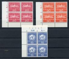Switzerland, United Nations European Office, Suisse, ONU Office Européen, 1959, MNH Margin Corner Blocks, Michel 28-30 - Service