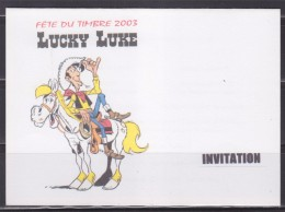 = Fête Du Timbre 2003 Lucky Luke Sur Son Cheval Jolly Jumper Invitation Inauguration à Langon (Gironde) Encart Double - Dag Van De Postzegel