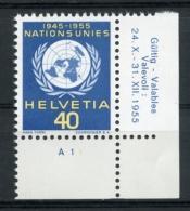 Switzerland, United Nations European Office, 1955, 10th Anniversary, Corner Margin, MNH, Michel 21 - Service