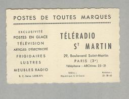 PARIS...TELERADIO ST MARTIN BOULEVARD...TELEVION..MEUBLES RADIO...FRANCE..FRANCIA - Cafés, Hôtels, Restaurants