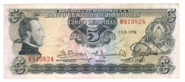 Honduras 5 Lempiras 1978, VF.  Rare. Free Ship. To USA - Honduras