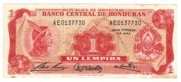 Honduras 1 Lempira 1968, VF+,  Rare. Free Ship. To USA - Honduras
