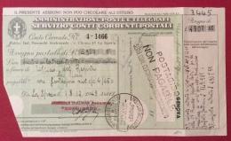 MODULISTICA REGNO Mod.ch16 ED.1939 XVII E.F. SERVIZIO CONTI CORRENTI POSTALI GENOVA 22/12/43 - Marcophilia