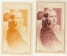 2 VIGNETTE ** MARIANNE GANDON 1949 # MAZELIN # CARRE # JAUNE ET MARRON ROSE - Commemorative Labels