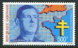 140 GABON 1990 - Yvert A 288 - Charles De Gaulle Carte Croix Lorraine - Neuf ** (MNH) Sans Trace De Charniere - Gabon (1960-...)