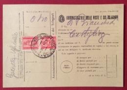 MODULISTICA REGNO MOD.23  ED. 1940 - XVIII - CON COPPIA TASSE 20 C.  BOLOGNA 6/2/43 - Marcophilia