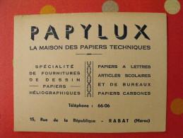Buvard Papylux. Papeterie Rabat Maroc. Vers 1950 - Stationeries (flat Articles)