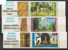 POLY-37 - POLYNESIE N° 243/45 Avec Vignettes Neufs** édifices Religieux - Polynésie Française