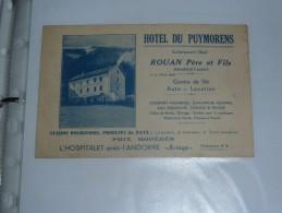Facture Document  Lettre   Carte De Visite Hotel Du Puymorens ROUAN Centre De Ski L Hospitalet Pres D Andorre Ariege - Sports & Tourisme