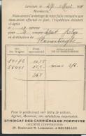 Carte Obl. N° 56  Obl.: Lessines 28/05/1921  + Repiquage  Carrières De Porphyre - Cartoline [1909-34]