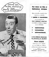 FERNANDEL) CLAUDE  François ( PHOTOS) PRESTATIONS OFFERTES PAPIER GLACE DEPLIANT 22X10 RECTO VERSO 3 Pages - Advertising