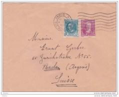 1934 - Lettre De Paris Vers Baden, Suisse Avec YT 291 A. Briand Et YT 293 Victor Hugo - Briefe U. Dokumente