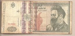 """Romania - Banconota Circolata Da 500 Lei """"Filagrana Brancusi Destro"""" - 1992 - Roemenië"""