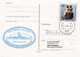 Germany Card P/m Kiel 1985 Polizeiboot Falshöft (SKO10-48) - Policia – Guardia Civil