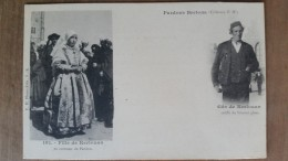 Kerlouan.fille De Kerlouan En Costume De Pardon Et Gars De Kerlouan. Coiffes Costumes Bretons.precurseur.Hamonic N ° 182 - Kerlouan