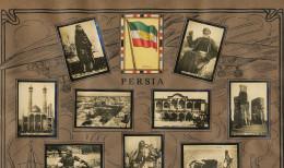 Set Of 13 Pictures Iran Advert Tabacalera Cubana Cuba Flag , Kuma, Tabriz, Teheran Imperial Bank, Persepolis Etc - Irán