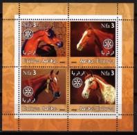 Erythrée 2002 - Chevaux, Horses - BF 4 Val Neufs // Mnh - Erythrée