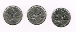 °°° CANADA  3 X 25 CENTS 1969/72/79 - Canada