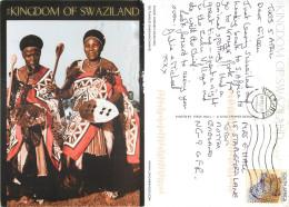 Swazi Women Dancing, Swaziland Postcard Posted 2011 Stamp - Swaziland