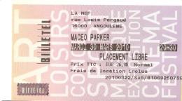 TICKET ENTREE CONCERT MACEO PARKER LA NEF ANGOULEME 30 MARS 2010 - Tickets - Vouchers