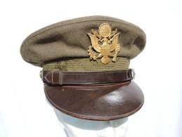 U.S.A. : SUPERBE CASQUETTE OFFICIER W.W.2  ........... - Headpieces, Headdresses