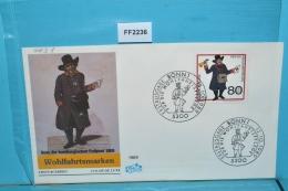 FF2236 FDC Wohlfahrt 1989, Hamburgische Fußpost, Bote Um 1808, DE 1989 - BRD