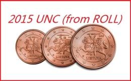 LIETUVA LITUANIA LITUANIE SERIE 1-2-5 EURO CENT 2015 UNC FDC FROM ROLL - Lithuania