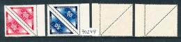 Böhmen Und Mähren Michel Nr. 52 KS/KW Zustellungsmarke 50 H Und Michel Nr. 15 KS/KW Portomarke 50 H Randstücke ++ - Besetzungen 1938-45