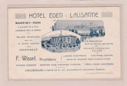 SUISSE - VAUD - LAUSANNE - HÔTEL EDEN - Maison De 1er Ordre, Propriétaire F.WISSEL- Carte De Visite Format CPA - Cartes De Visite