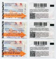 Lot De 3 Tickets Usagés De Métro Avec Tarifs Différents - Prague Praha Prag Praga (CZ) - 2016 - Métro