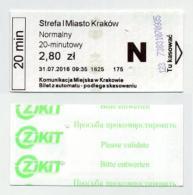 Tickets Usagé De Bus Et Tramway - Krakow Cracovie (PL) - 2016 - Bus