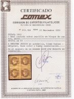 España 1862. Isabel II. Edifil 61 Bloque De 4. Certificado COMEX. MNH. MH. **. *. - 1850-68 Kingdom: Isabella II